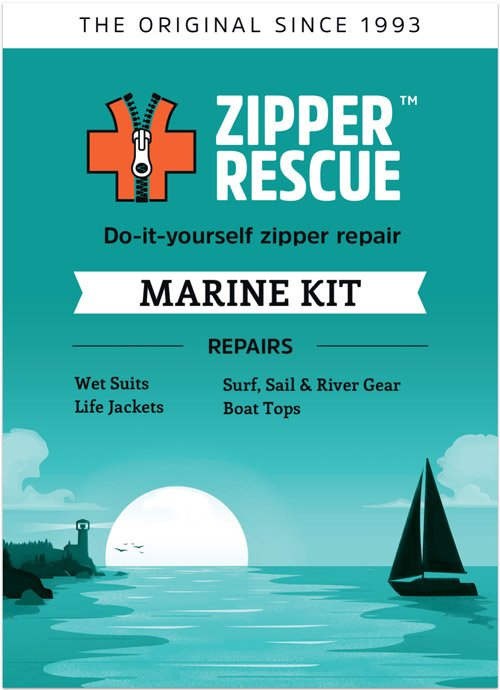 Do-it-yourself zipper repair kit for boats and marine gear.